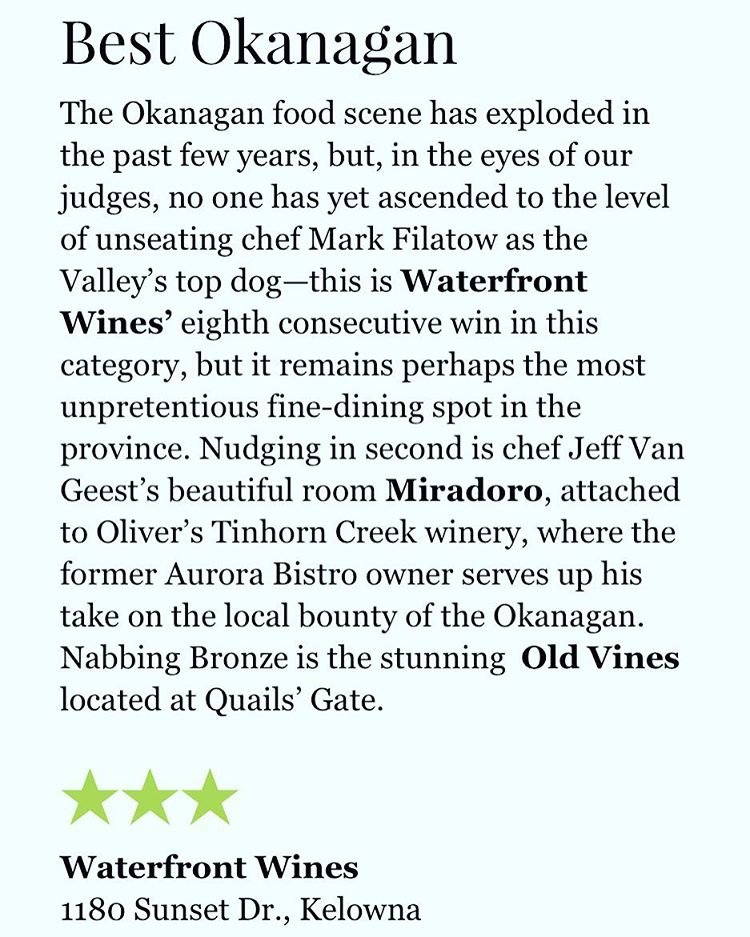 Thank you vanmagcom for naming us Best Okanagan Restaurant forhellip