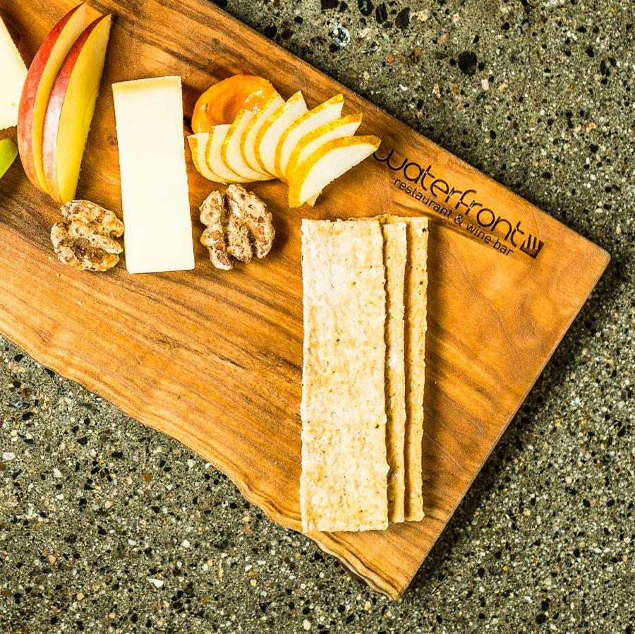Local cheeses and Okanagan fruits at Waterfront Wines
