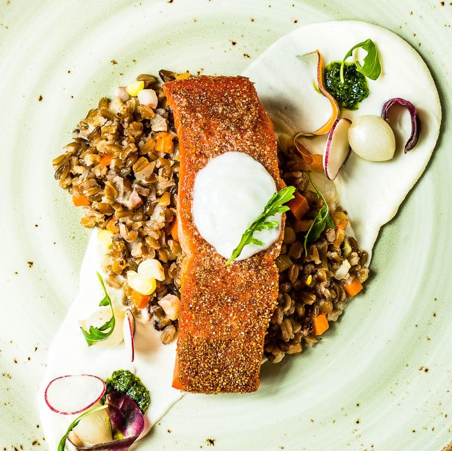 A crusted salmon dish