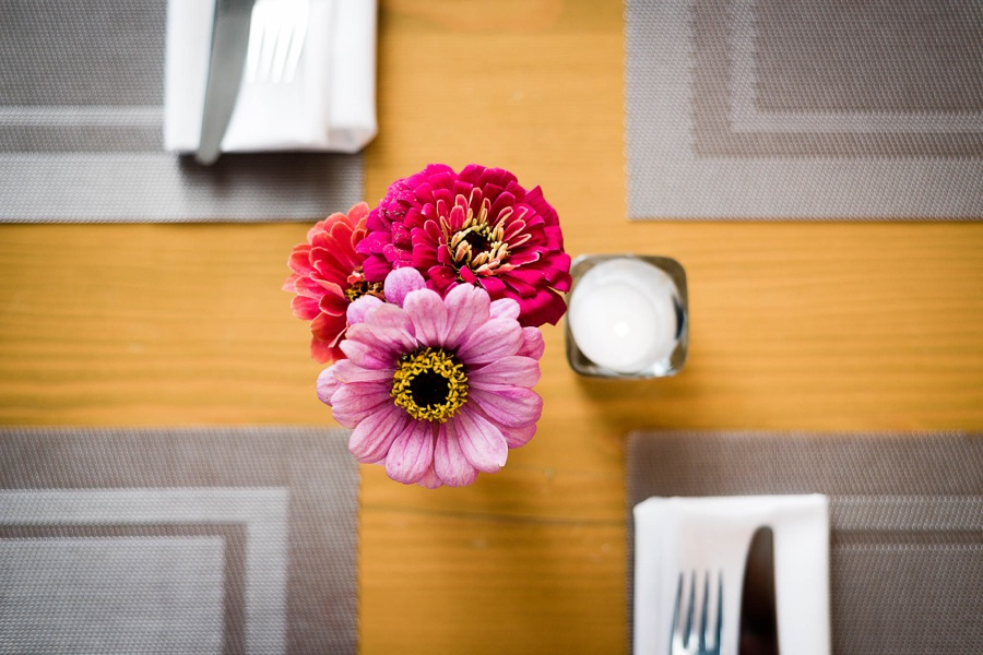 Waterfront Wines Restaurant flowers on table